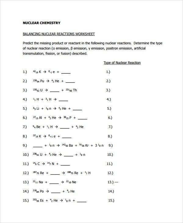 Balancing Nuclear Equations Worksheet  Equations