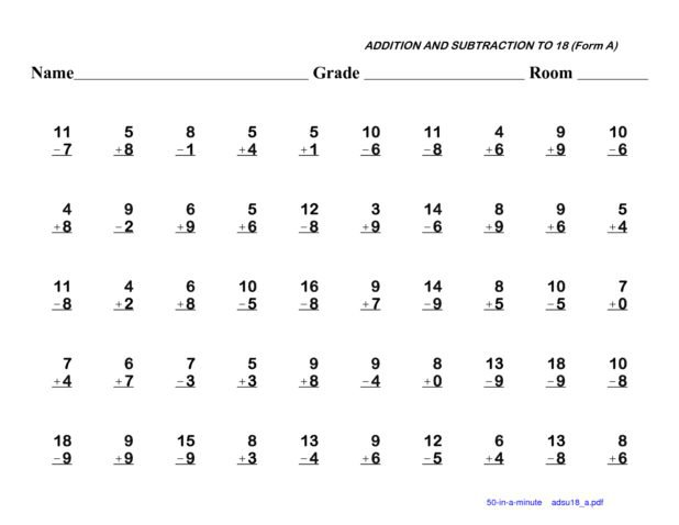 Basic Addition And Subtraction Worksheets  Addition