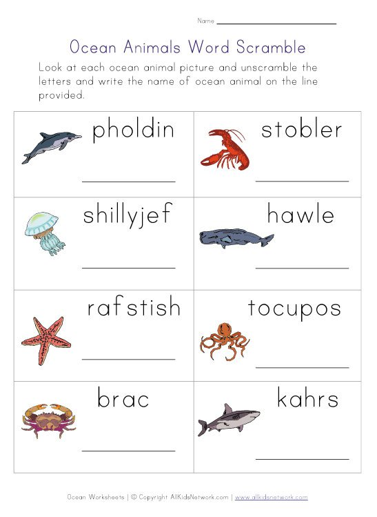 Best Photos Of Ocean Animals Worksheets