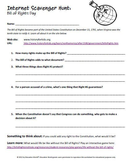 Bill Of Rights Worksheets For Middle School Worksheets For All