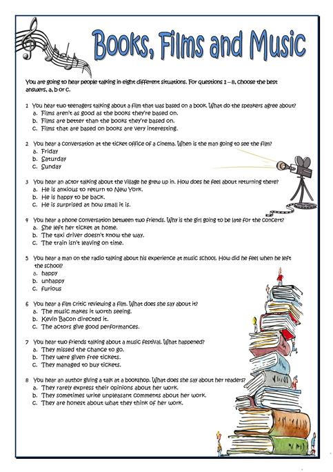 Books, Films And Music Worksheet