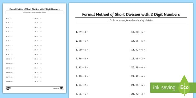 Bus Stop Method Formal Division Of 2 Digit Numbers Worksheet
