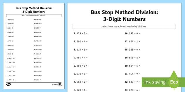 Bus Stop Method Formal Division Of 3 Digit Numbers Worksheet