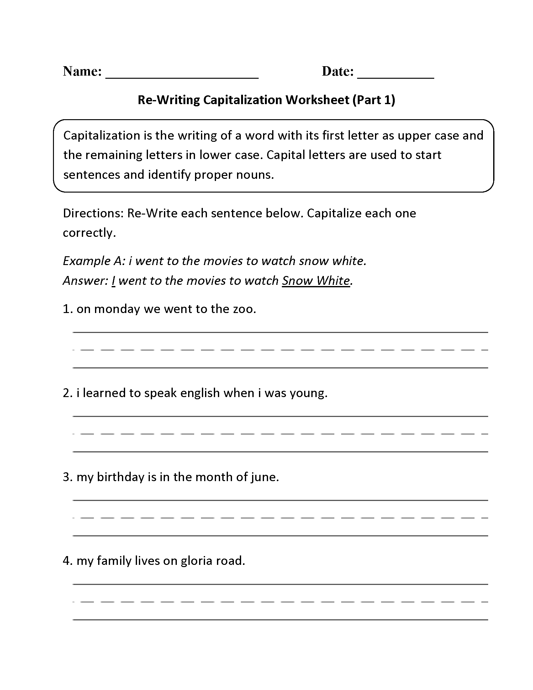 Capitalizing Names Worksheets 1st Grade Worksheets For All
