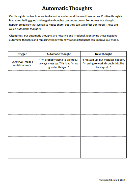 Cbt Worksheets! Automatic Thoughts Preview  Good For Negative Self
