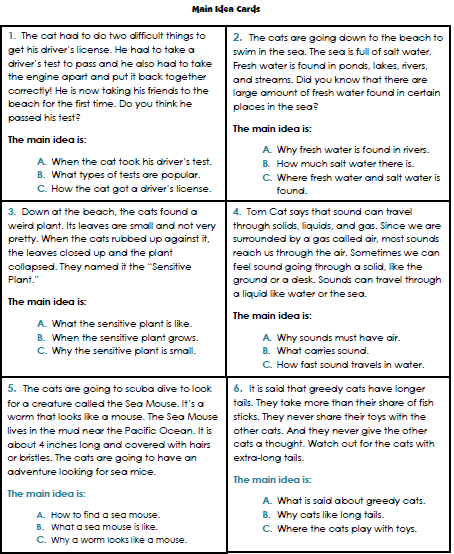 Central Idea Worksheets Worksheets For All
