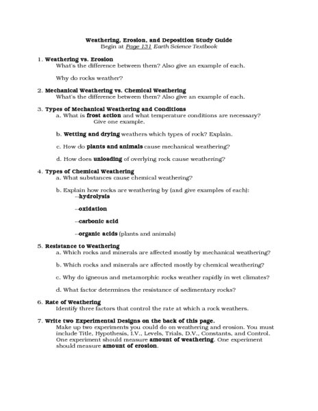 Chemical And Mechanical Weathering Worksheet Worksheets For All