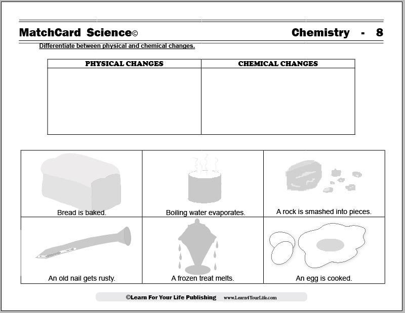 Chemical And Physical Changes Worksheet Physical And Chemical