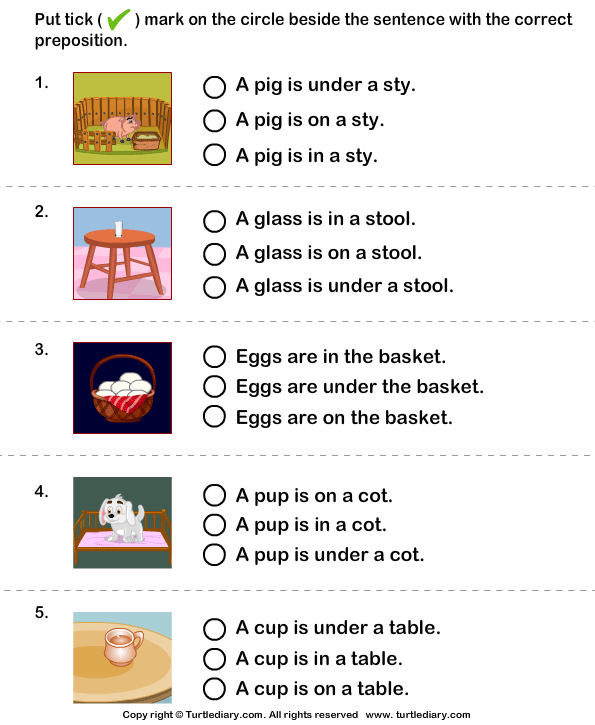 Choose The Sentence With The Correct Preposition