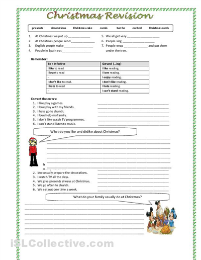 christmas language arts worksheets for middle school drive