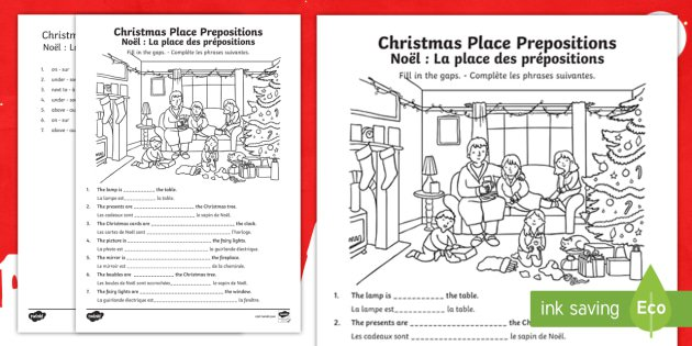 Christmas Place Prepositions Fill