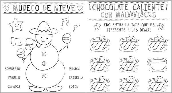 Christmas Printable Activity Pages In Spanish