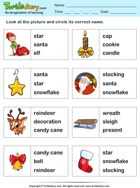 Christmas Vocabulary Worksheets Worksheets For All
