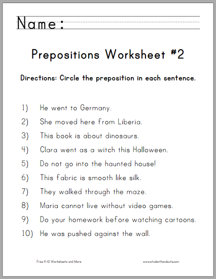 Circle The Prepositions Worksheet
