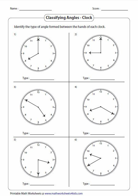 Clock Angles Worksheet