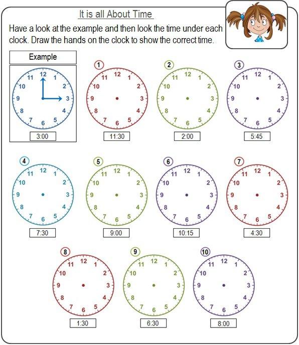Clock Worksheet For Kindergarten Worksheets For All