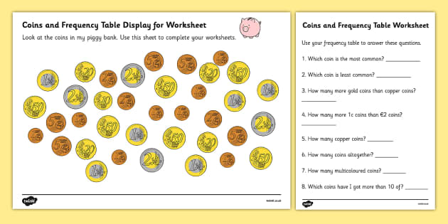 Coins In Piggy Bank Euros Worksheets