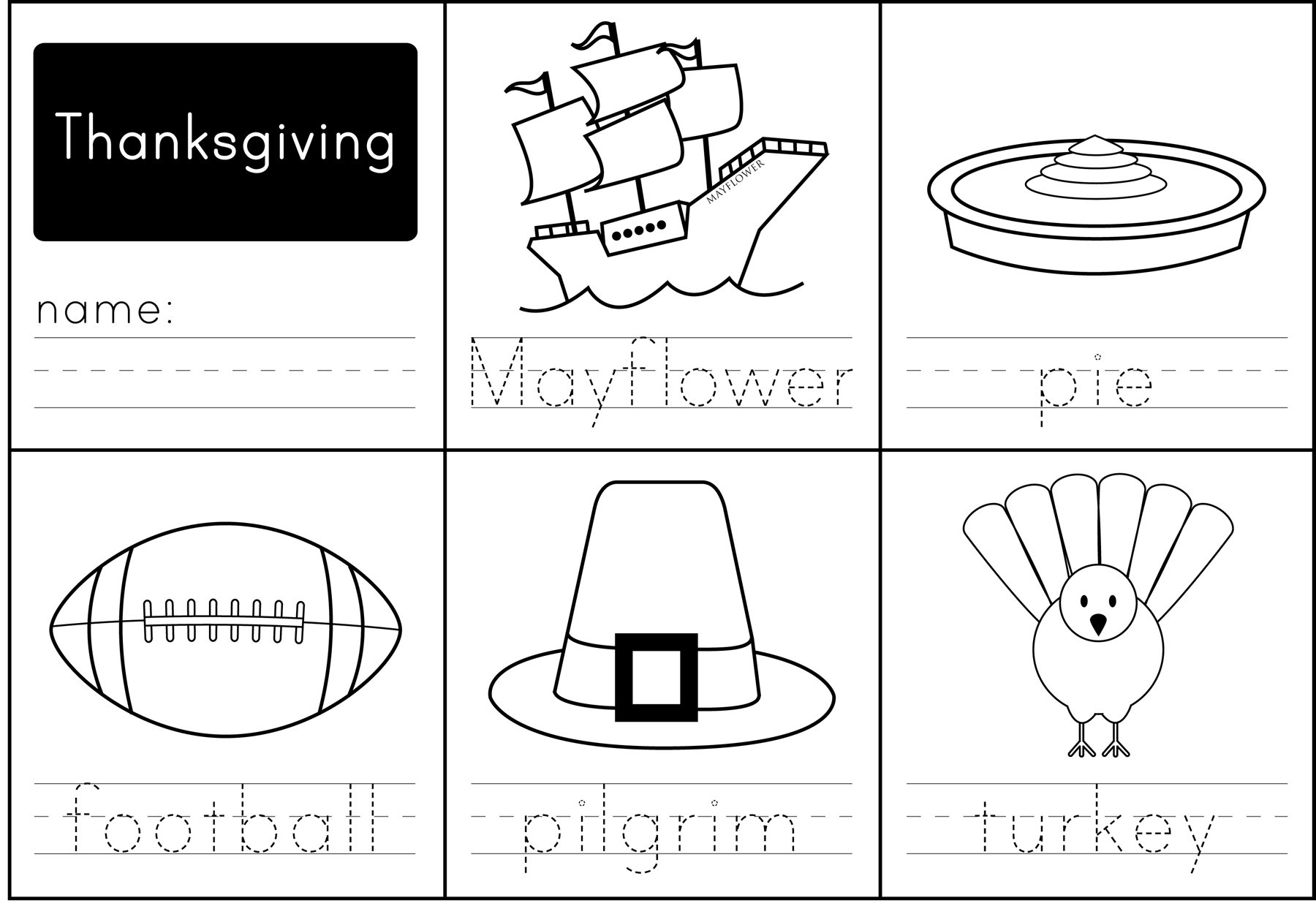 Collection Of Free Thanksgiving Worksheets For Kindergarten