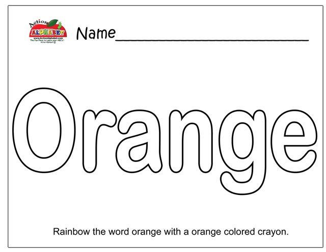 Color Orange Worksheet Preschool Worksheets For All