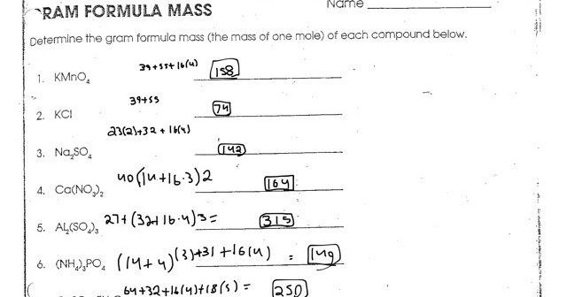 Computing Formula Mass Worksheet Answers Chemistry Computing