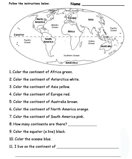 Continents And Oceans Worksheet Worksheets For All