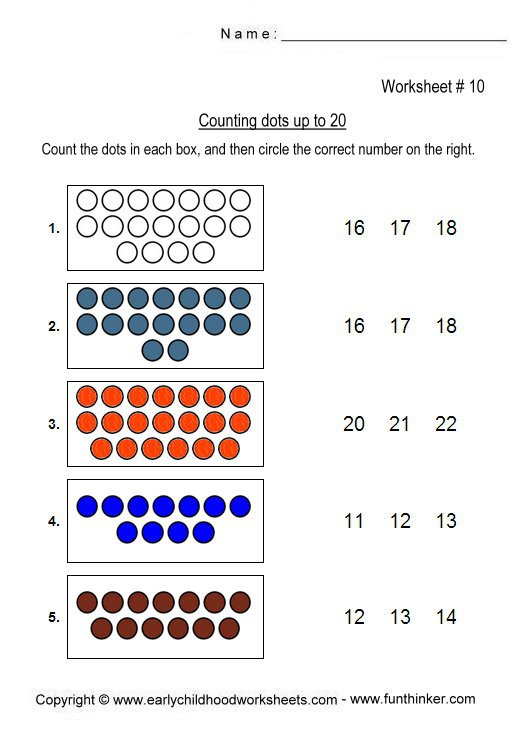 Counting Objects To 20 Worksheets Worksheets For All