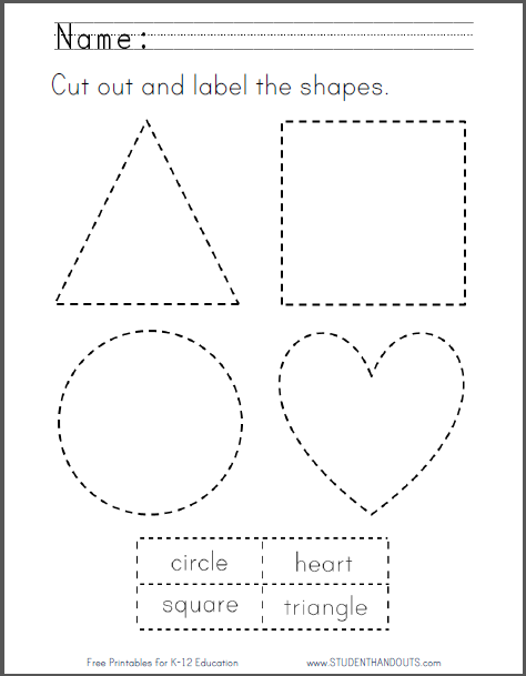 Cut And Label The Shapes Printable