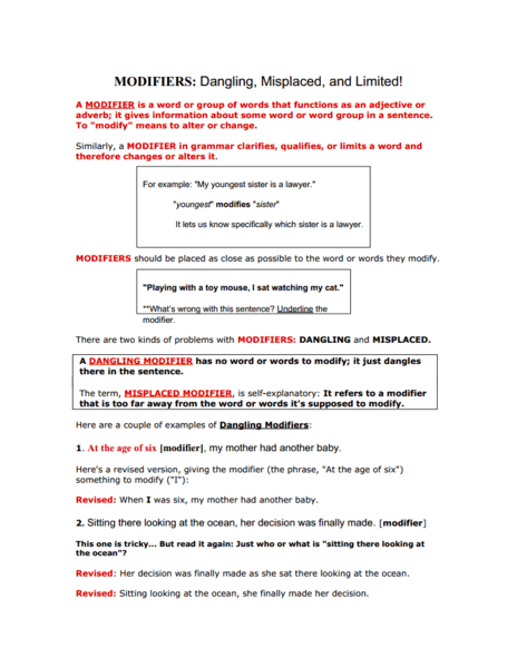 Dangling And Misplaced Modifiers Worksheet Worksheets For All