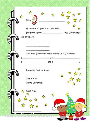 Dear Santa Letter Template For Kindergarten