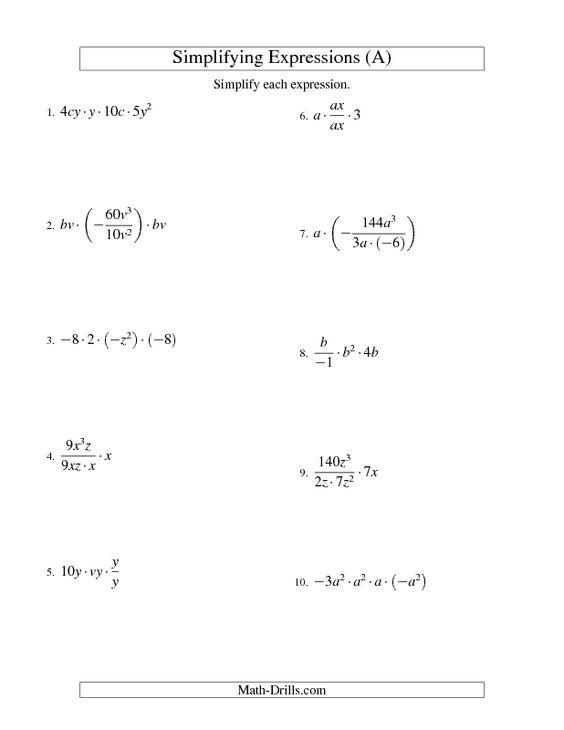 Division Algebraic Expressions Worksheet