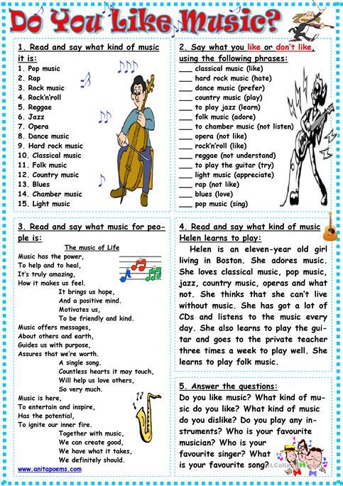 Do You Like Music  Worksheet