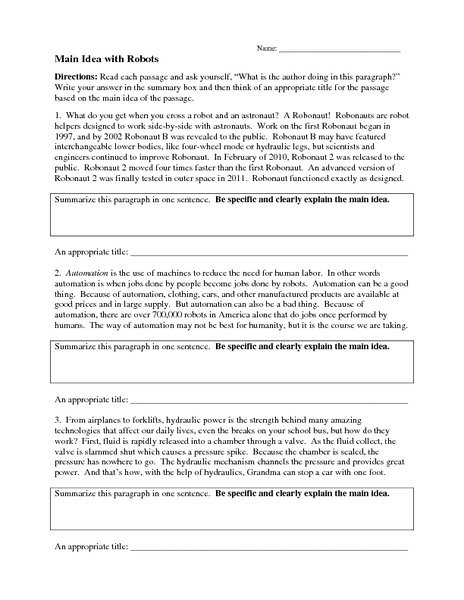 Eighth Grade Main Idea Worksheets Worksheets For All