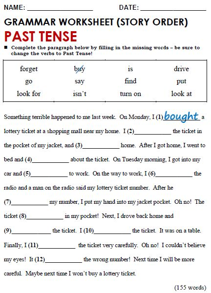 English Grammar Worksheets For Grade 4 Tenses