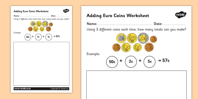 Euro Coins Worksheet