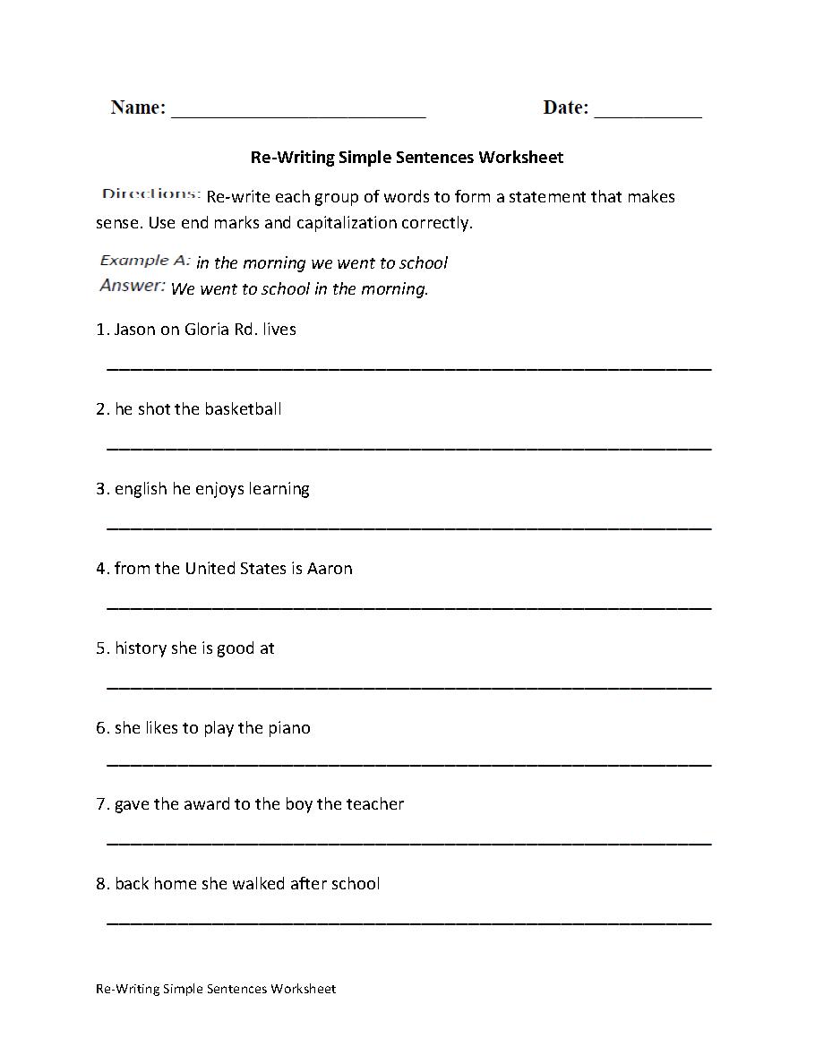 Fifth Grade Writing Sentences Worksheets The Best Worksheets Image