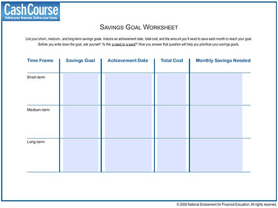 Financial Planning Goals Worksheet Worksheets For All
