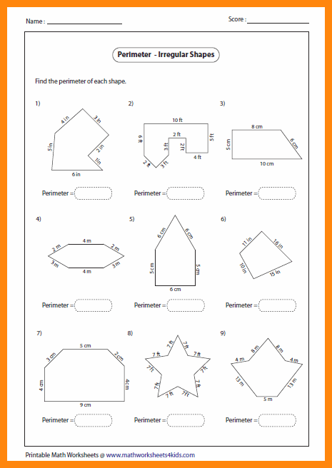 Finding Area And Perimeter Of Irregular Shapes Worksheets
