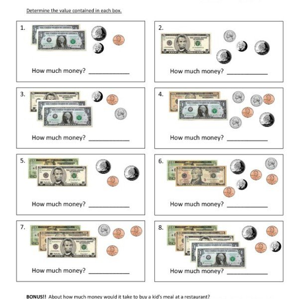 First Grade Counting Money Worksheet 15 – One Page Worksheets