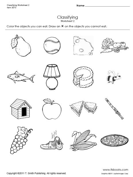 Food Worksheets For Kindergarten Food And Non Food Classifying