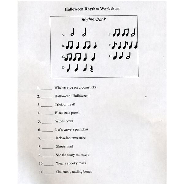 four halloween music activities for elementary kids free worksheets samples