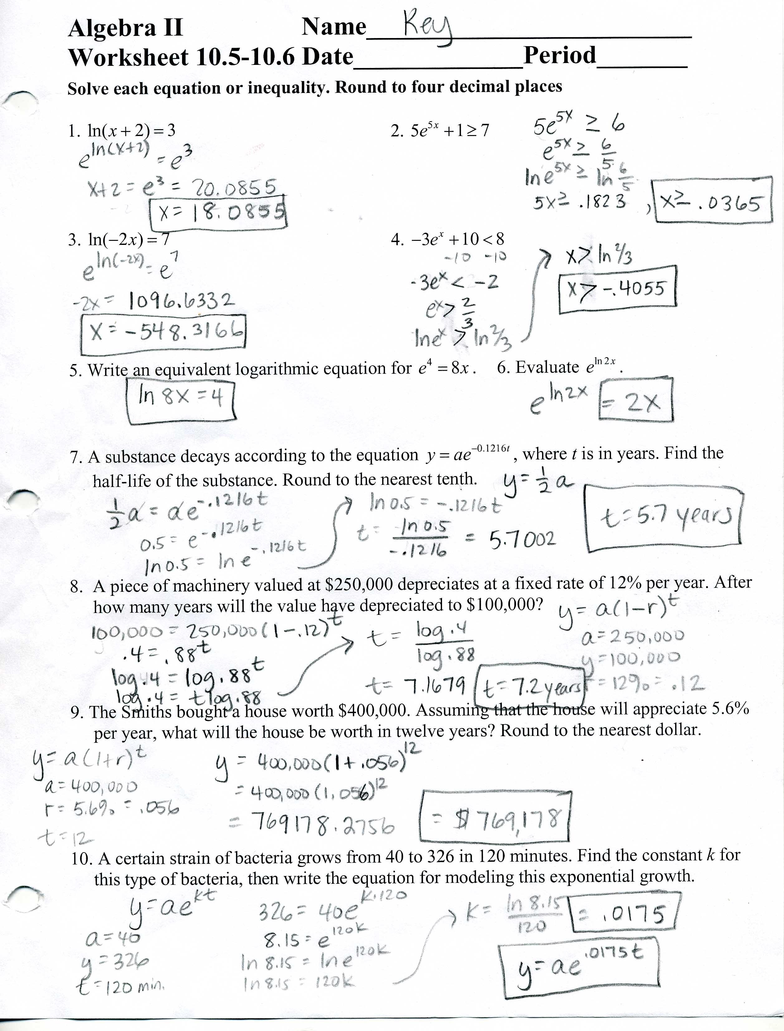 Free Algebra 2 Worksheets With Answer Key  Algebra