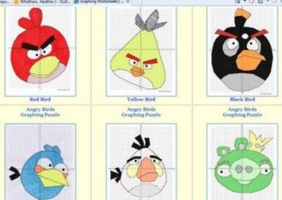 Free Angry Birds Coordinate Graphing Puzzles