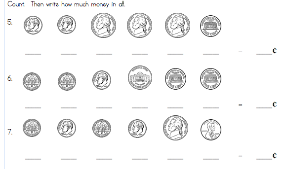Free Counting Money Worksheets For First Graders