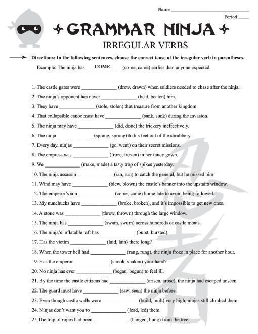 Free Grammar Worksheets 6th Grade Free Worksheets Samples