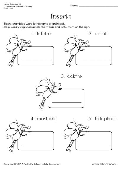 Free Insect Worksheets For First Grade