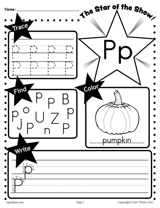 Free Letter P Worksheet  Tracing, Coloring, Writing & More!