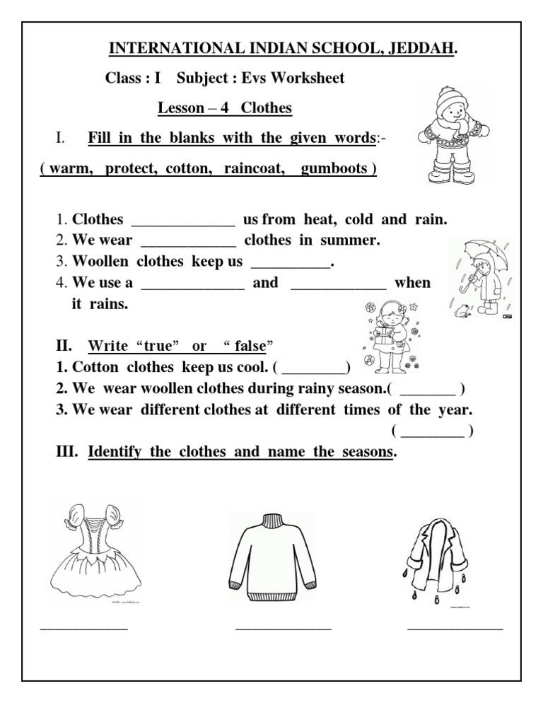 Free Printable Evs Worksheets For Class 1 Copy 2bof 2bgrade 1