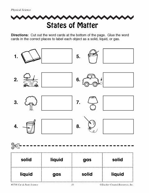 Free Printable Phases Of Matter Worksheets
