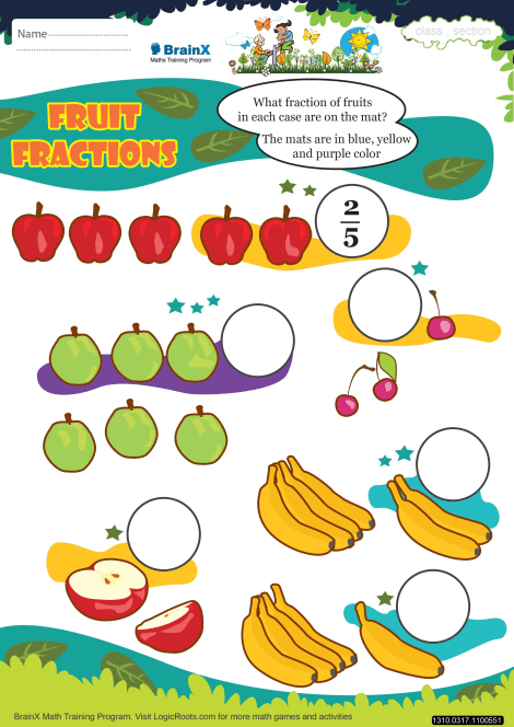 Fruit Fractions Math Worksheet For Grade 3