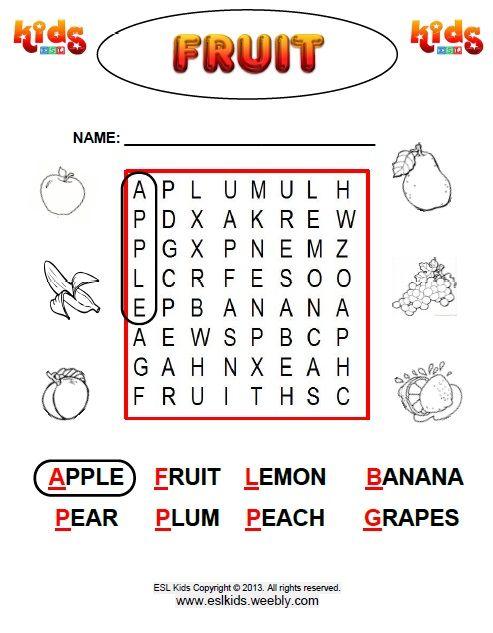 Fruits Worksheets For Kids